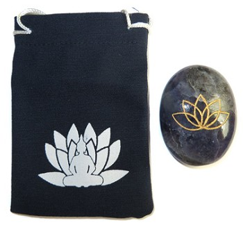 Printed Bag & Etched Gemstone (Iolite Lotus)