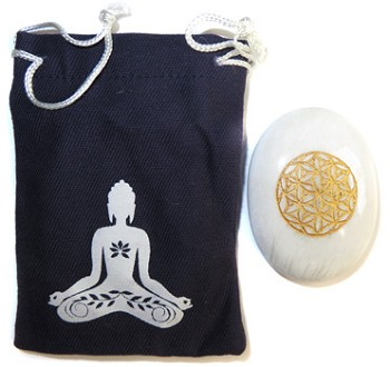 Printed Bag & Etched Gemstone (Scolosite Buddha)