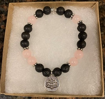 Rose Quartz & Lava Stone Aromatherapy Bracelet with Lotus Charm [Handcrafted]