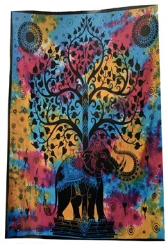 100% Cotton Tapestry (Elephant & Tree of Life)