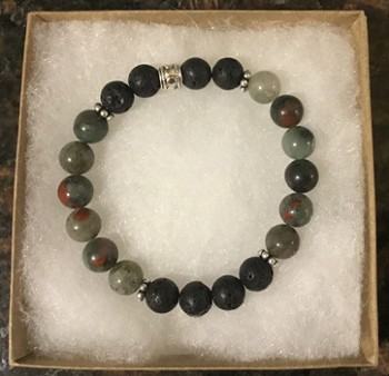 Bloodstone and Lava Stone Aromatherapy Bracelet [Handcrafted]