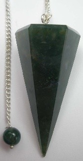 Moss Agate Pendulum with Bead Top